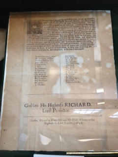 Proclamation of Richard Cromwell as Lord Protector, September 1658