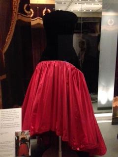 Black velvet bodice and red silk taffeta dress - 1986