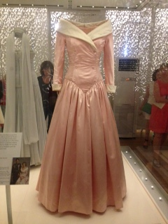 Pink satin evening gown with white raw silk collar and cuffs - Catherine Walker, 1987