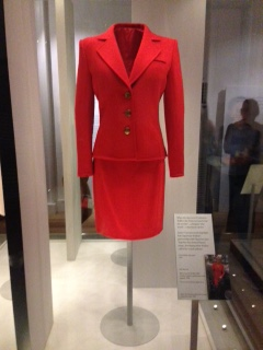 Red day suit worn to the launch of HIV charity London Lighthouse's new appeal - Catherine Walker, 1996