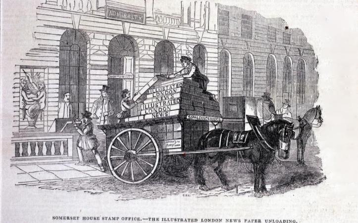 Unloading London Illustrated News at the Stamp Office
